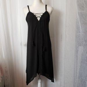 Asymmetrical Black Dress Spaghetti Strap V-Neck